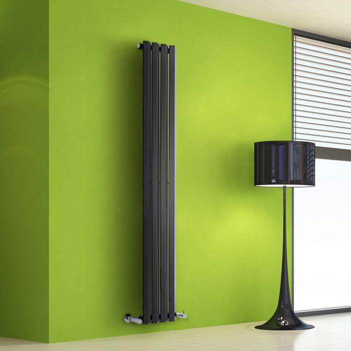 Radiador de Diseño Vertical - Negro - 1600mm x 280mm x 60mm - 630 Vatios - Rombo