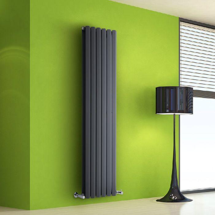 Radiador de Diseño Vertical Doble - Antracita - 1600mm x 420mm x 86mm - 1475 Vatios - Rombo
