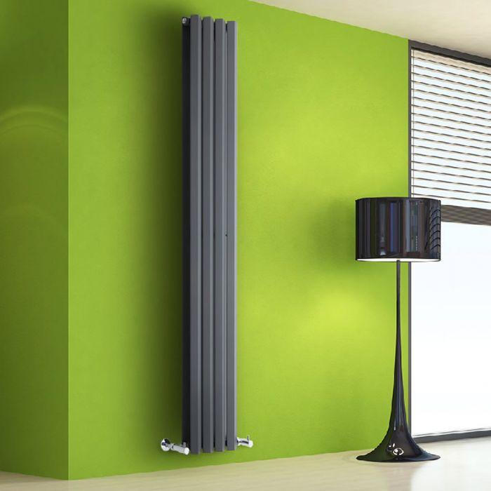 Radiador de Diseño Vertical Doble - Antracita - 1780mm x 280mm x 86mm - 1079 Vatios - Rombo