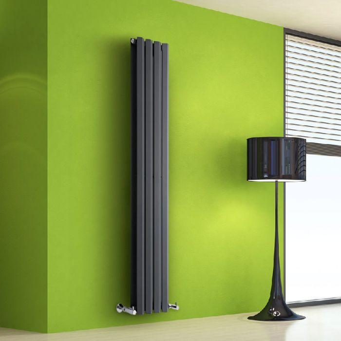 Radiador de Diseño Vertical Doble - Antracita - 1600mm x 280mm x 86mm - 983 Vatios - Rombo