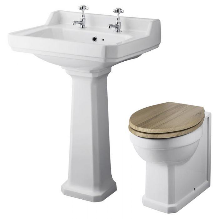 Conjunto de Baño Completo con Inodoro WC con Tapa y Lavabo de 590mm Retro