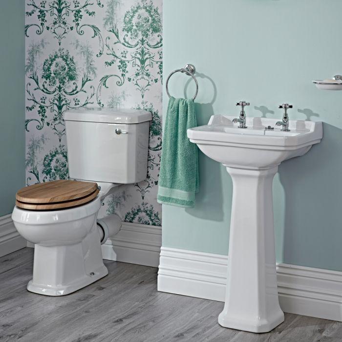 Conjunto de Baño Completo con Inodoro WC con Tapa Cisterna y Lavabo de 500mm - Tradicional