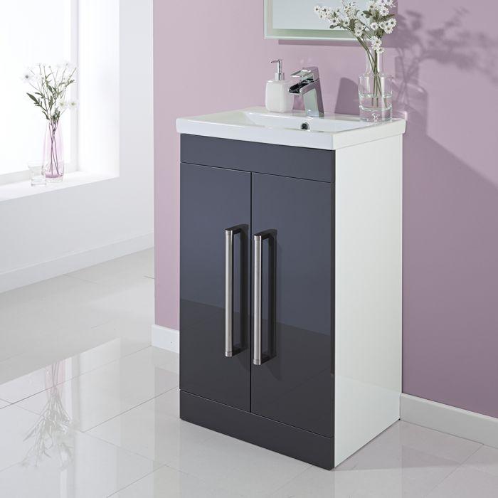 Mueble de Lavabo en Gris Lacado a Suelo de 500mm x 810mm con Puertas Batientes