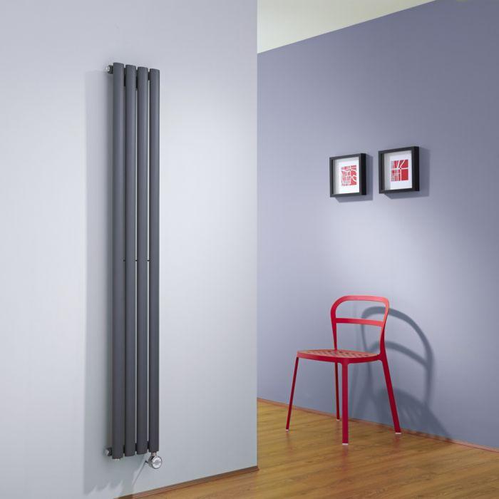 Radiador de Diseño Eléctrico Vertical - Antracita - 1600mm x 236mm x 56mm - Revive
