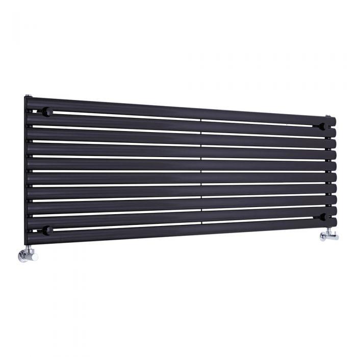 Radiador de Diseño Horizontal - Negro - 590mm x 1780mm x 55mm - 1476 Vatios - Revive