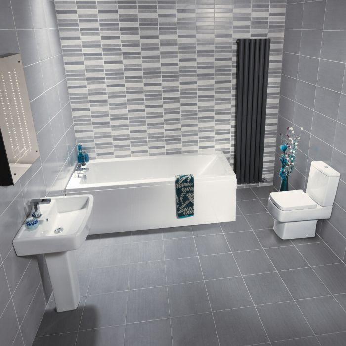 Conjunto de Cuarto de Baño Moderno Completo con Bañera, Lavabo, WC