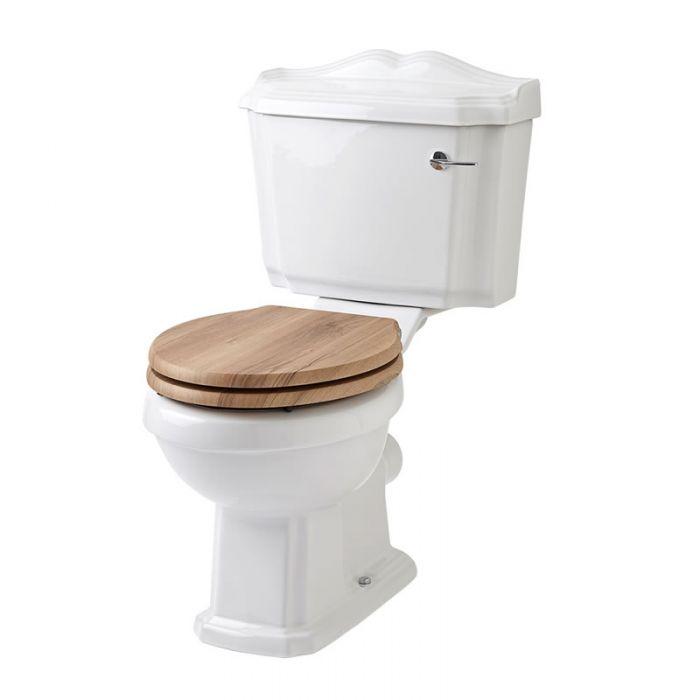 Inodoro WC Tradicional con Cisterna y Tapa de Madera Estilo Retro con Salida Horizontal