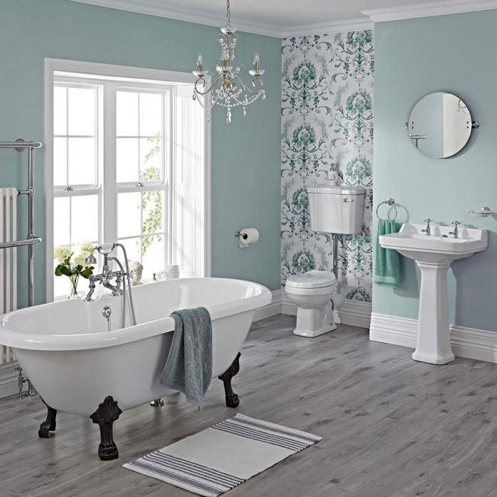 Conjunto de Cuarto de Baño Tradicional Completo con Bañera, Grifería, Lavabo, WC con Cisterna y Tapa para el WC -  Carlton