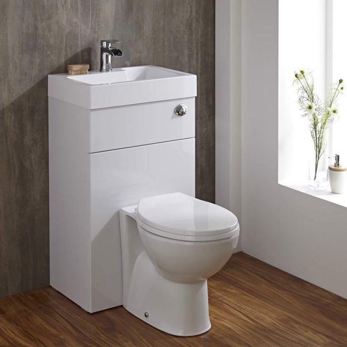 Conjunto de Baño Color Blanco Completo con Inodoro y Lavabo