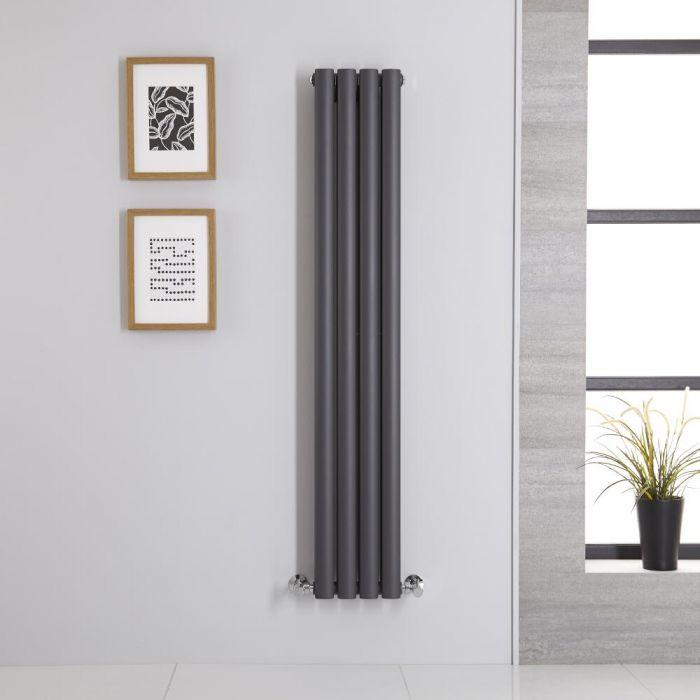 Radiador de Diseño Vertical Doble - Antracita - 1400mm x 236mm x 78mm - 696 Vatios - Revive
