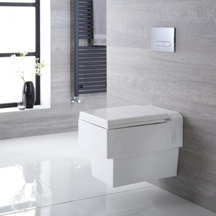 Inodoro WC Cuadrado Moderno Suspendido 580x390x495mm con Tapa - Haldon