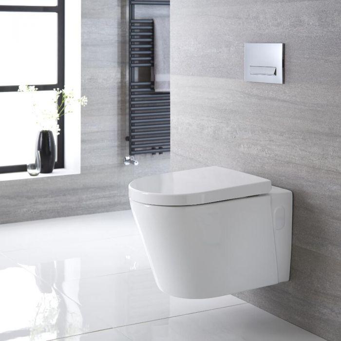 Inodoro WC Oval Suspendido 600x390x450mm con Tapa - Exton