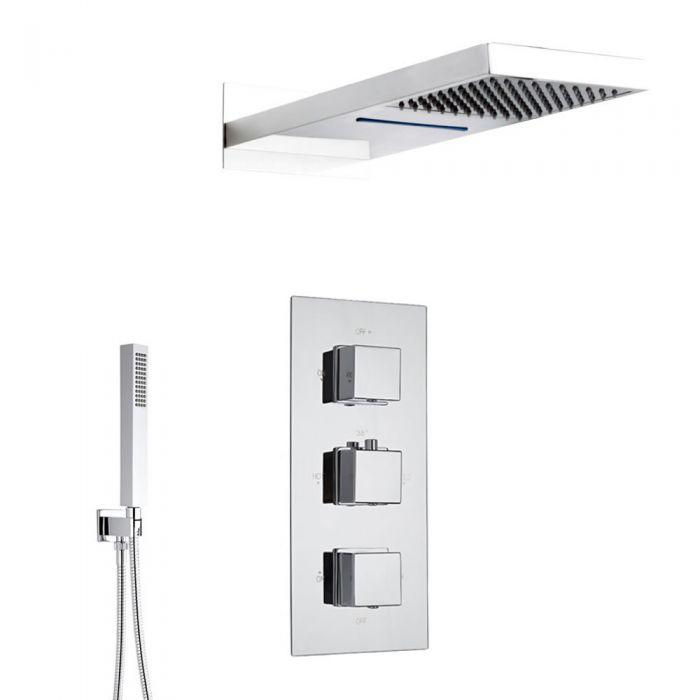 Sistema de Ducha Completo con Llave Mezcladora Termostática de Tres Funciones