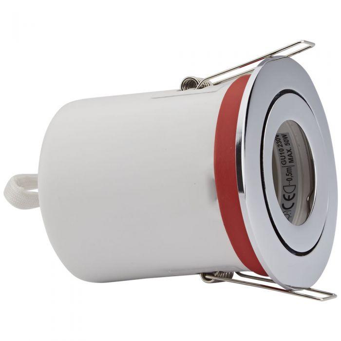 Foco Downlight Empotrable IP20 GU10 Inclinable de Techo Clasifícación Ignífuga con Bisel Redondo Disponible en 3 Colores