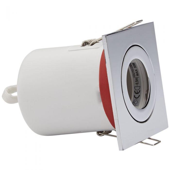 Foco Downlight Empotrable IP20 GU10 Inclinable de Techo Clasifícación Ignífuga con Bisel Cuadrado Disponible en 3 Colores
