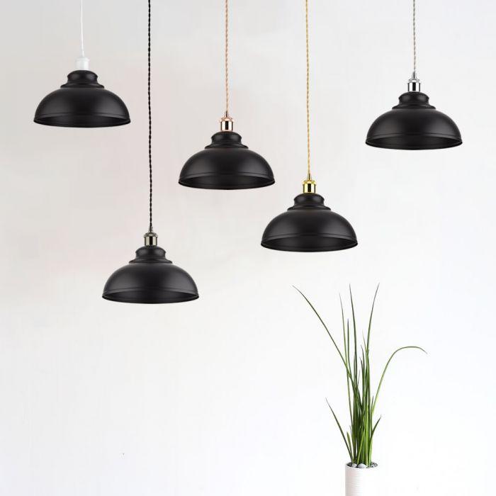 Lámpara de Techo de Suspensión Retro de Latón con Acabado de Color Negro - Dalston