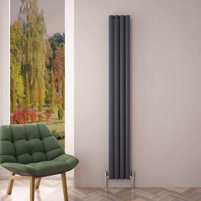 Radiador de Diseño Vertical Doble - Antracita - 1800mm x 230mm x 76mm - 1002 Vatios - Revive Air