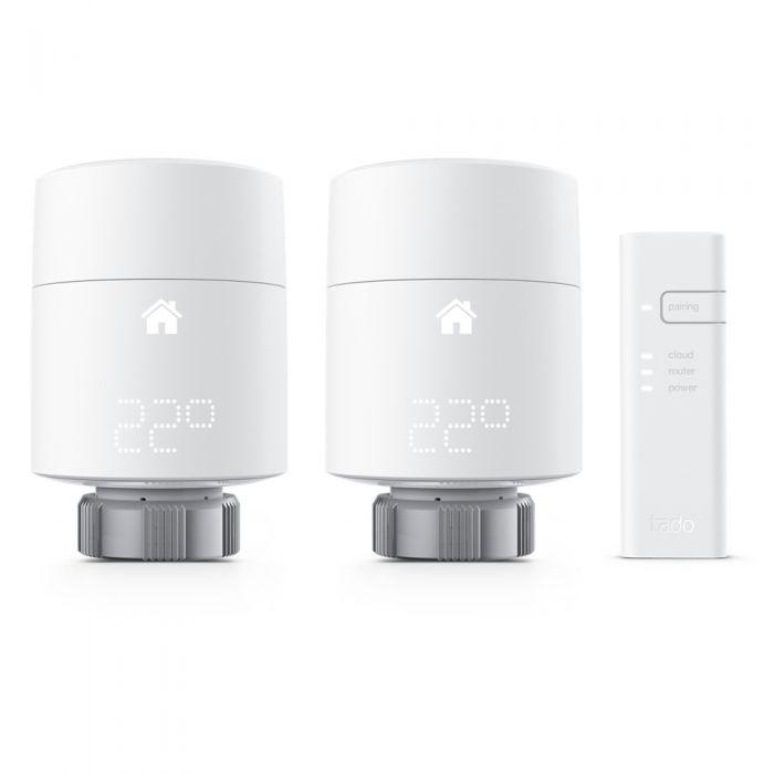Kit de Inicio con 2 Cabezales Termostáticos Inteligentes Horizontales y Bridge de Internet Tado°