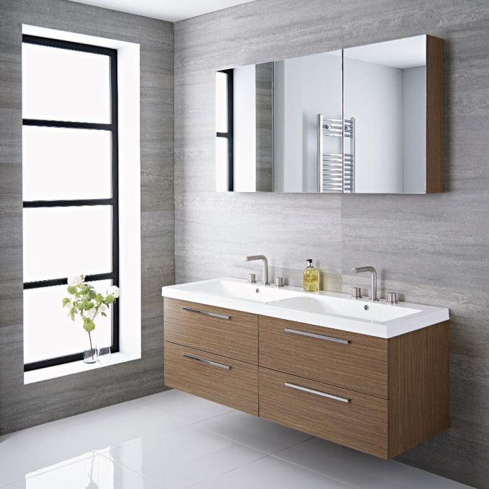 Mueble de Lavabo Suspendido Doble con Acabado Color Efecto Roble 1440x510x550mm con Lavabo Integrado - Langley
