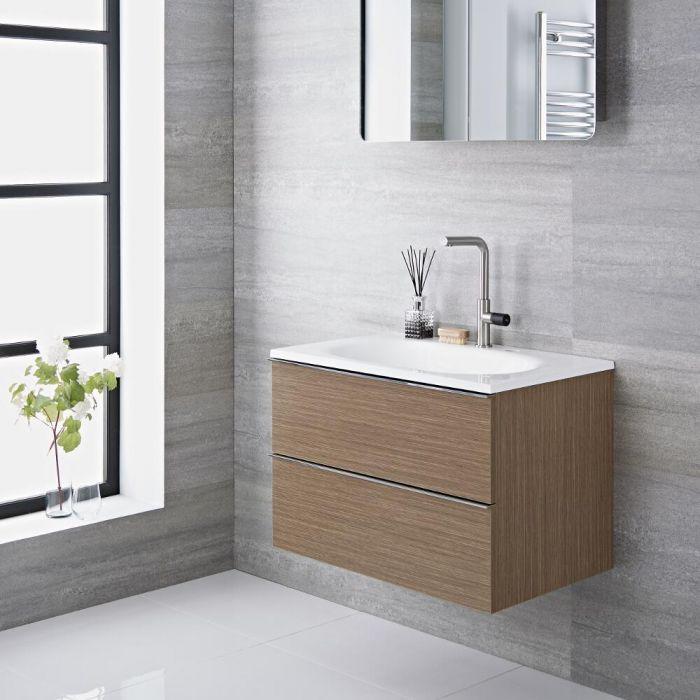 Mueble de Lavabo Suspendido con Acabado Efecto Color Roble 475x480x520mm con Lavabo Integrado - Randwick