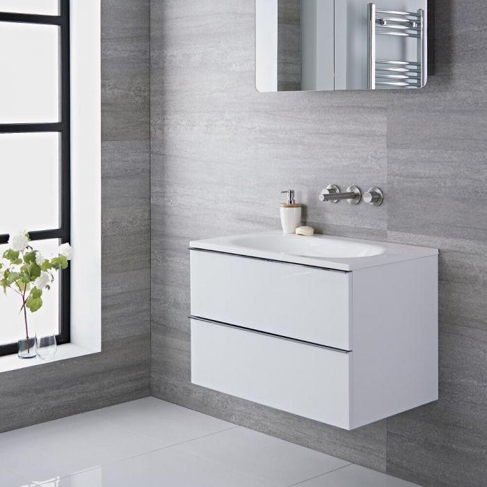Mueble de Lavabo Suspendido con Acabado Color Blanco Lacado 750x480x520mm con Lavabo Integrado - Ranwick