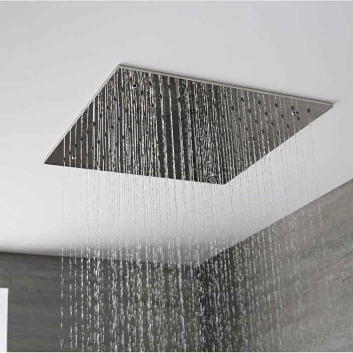 Alcachofa de Ducha Cuadrada Empotrable de Techo de Acero Inoxidable 400x400mm - Trenton
