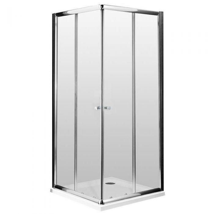 Mampara de ducha angular cuadrada 900x900X1950  con plato de ducha - Hutton
