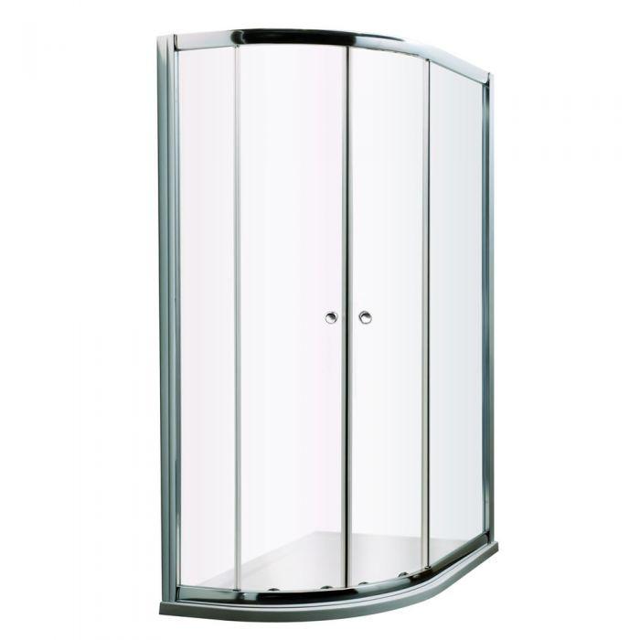 Mampara de ducha angular 1200x900x1950 entrada izquierda con plato de ducha - Hutton