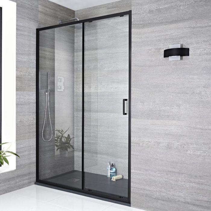 Mampara de ducha puerta de ducha frontal corredera negra 1400x1950mm nox - Puerta para ducha ...