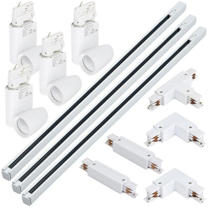 Kit con 3 Carriles de 1m para Sistemas de 3 Circuitos 4 Luminarias LED y 5 conectores - Blanco