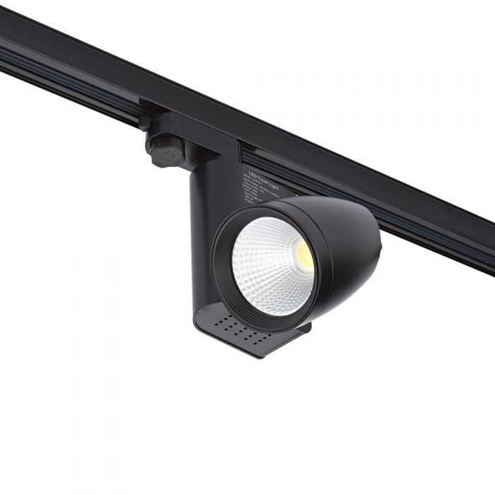 Foco LED de 25W para Instalación en Carril de 3 Circuitos - Negro
