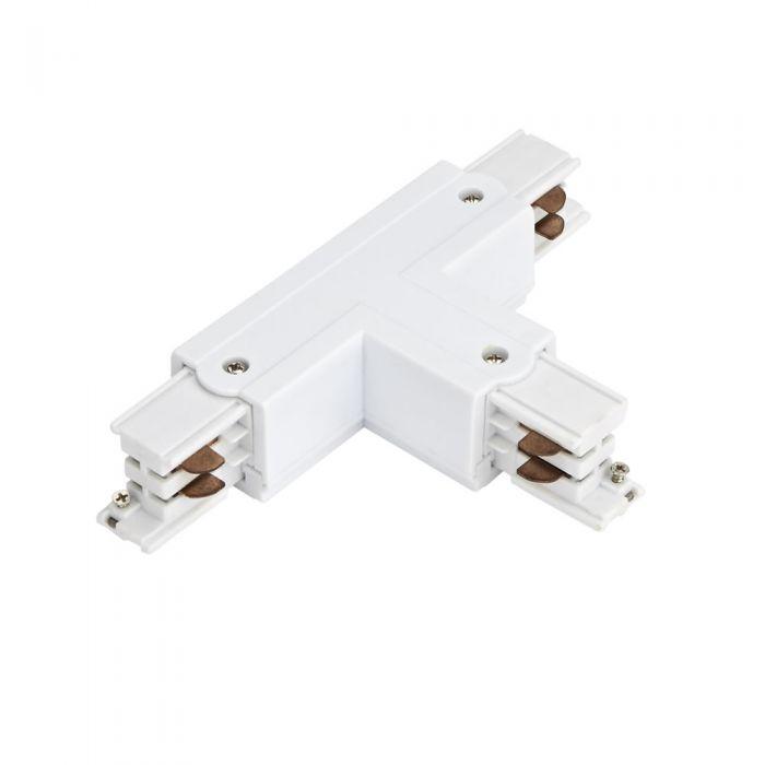 Conector tipo T para carril de 3 Circuitos - Blanco