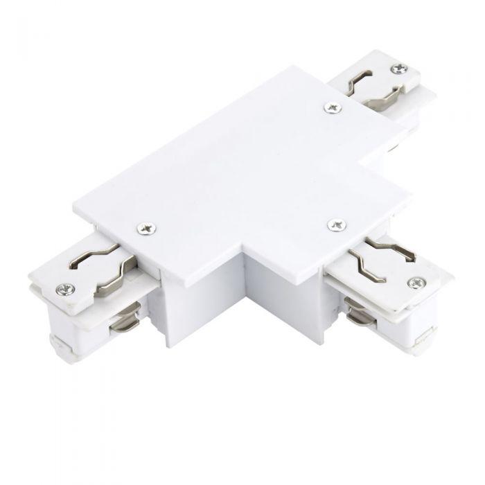 Conector Empotrable tipo T para carril de 3 Circuitos - Blanco