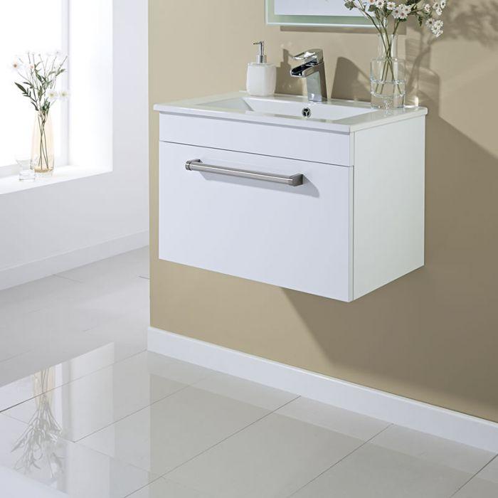 mueble de lavabo suspendido en blanco lacado mm x mm con un cajn