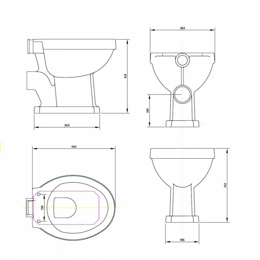 Inodoro wc tradicional en cer mica con cisterna alta y for Instalar wc salida horizontal