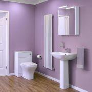 Conjunto de Baño Completo con Inodoro WC, Cisterna Integrada, Tapa y Lavabo