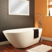 Bañera Acrílica Tradicional Exenta Asimétrica Moderna Oval 1670x730mm