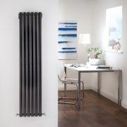 Radiador de Diseño Vertical Doble - Negro - 1600mm x 354mm x 56mm - 1228 Vatios - Revive