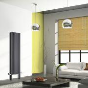 Radiador de Diseño Vertical Doble Con Pies de Soporte - Antracita - 1800mm x 472mm x 78mm - 1637 Vatios - Revive Plus