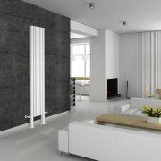 Radiador de Diseño Vertical Doble Con Pies de Soporte - Blanco - 2000mm x 354mm x 78mm - 1401 Vatios - Revive Plus