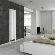 Radiador de Diseño Vertical Doble Con Pies de Soporte - Blanco - 2000mm x 472mm x 78mm - 1868 Vatios - Revive Plus