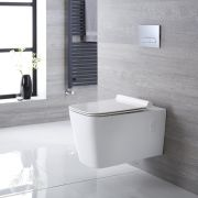 Inodoro WC Cuadrado Moderno Suspendido 610x390x410mm con Tapa - Elswick