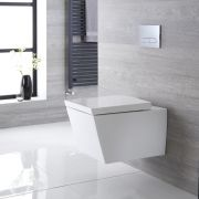 Inodoro WC Cuadrado Moderno Suspendido 595x405x465mm con Tapa - Dalton
