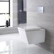 Inodoro WC Cuadrado Moderno Suspendido 595x405x465mm con Tapa - Halwell