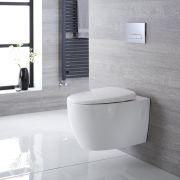 Inodoro WC Oval Moderno Suspendido 610x420x480mm con Tapa - Altham