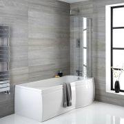 Conjunto con Bañera Asimétrica Curva, Faldones de Bañera 1650mm y Mampara –Derecha