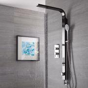 Columna de Ducha Multifunción Acero Inoxidable Color Negro con Mezclador Termostático- Harding