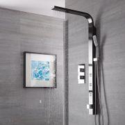 Columna de Ducha Multifunción Acero Inoxidable Color Negro con Mezclador Termostático - Harding