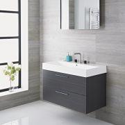 Mueble de Lavabo Suspendido con Acabado de Color Gris 900x480x600mm con Lavabo Integrado - Langley