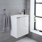 Mueble de Lavabo Suspendido con Acabado Color Blanco Lacado 500x300x600mm con Lavabo Integrado - Ranwick